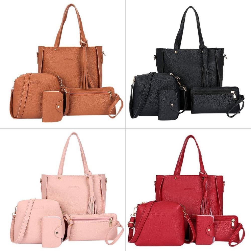 9ee7919ae1 Fashion Women Composite Bags PU Leather Tassel Shoulder Bag Ladies Clutch  Handbag Set Large Capacity Tote Bag Bolsas Y1892506 Red Handbags Pink  Handbags ...