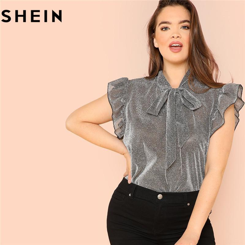 2019 Shein Grey Ruffle Trim Tie Neck Plus Size Women Thin Blouses