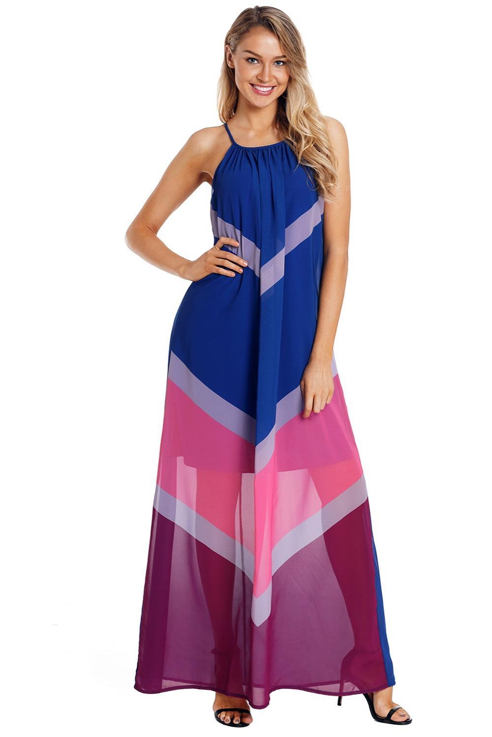 Beach Long Vestidos Boho Dresses Summer Blue Chevron Color Block Halter  Neck Loose Maxi Dress Plus Size XXL LC610090