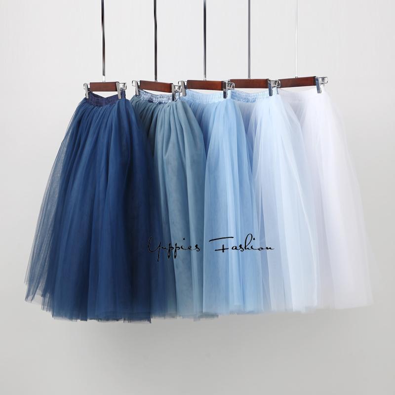 312dc3837 2019 7 Layered Tulle Skirts Womens High Waist Swing Dolly Ball Gown  Underskirt Mesh Tutu 2017 Summer Midi Skirt Faldas Saias Jupe From Burtom,  ...