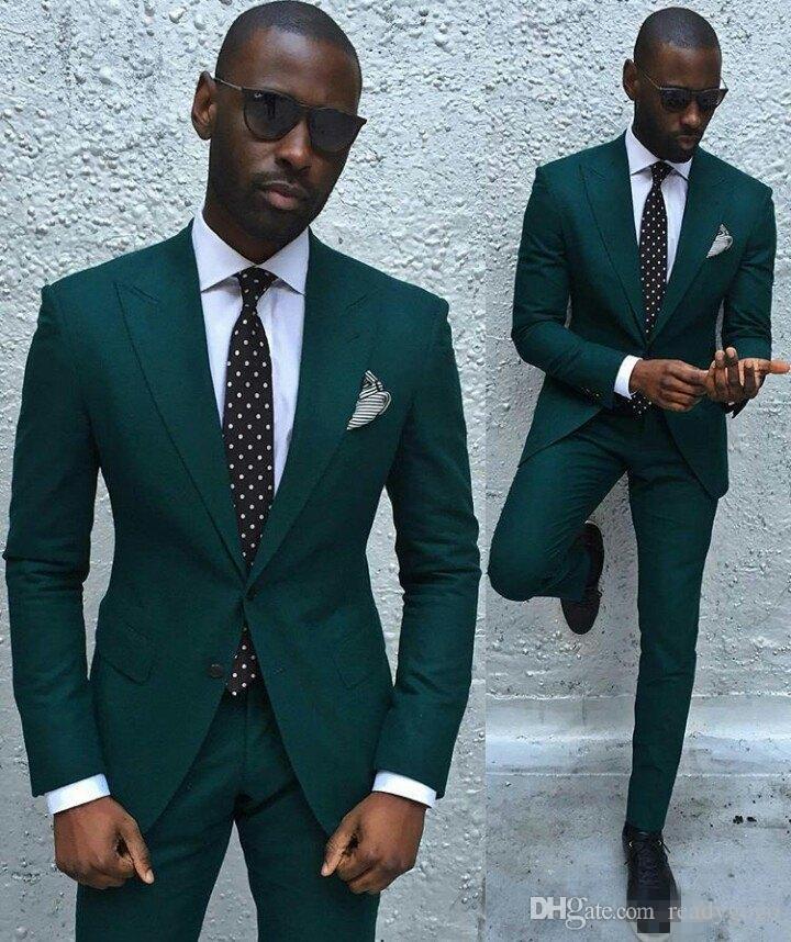 헌터 그린 남자 두 조각 착용 블레 이저 남자 잘 생긴 정장 신랑 턱시도 결혼식 정장 Groomsmen 턱시도 최고의 남자 고품질