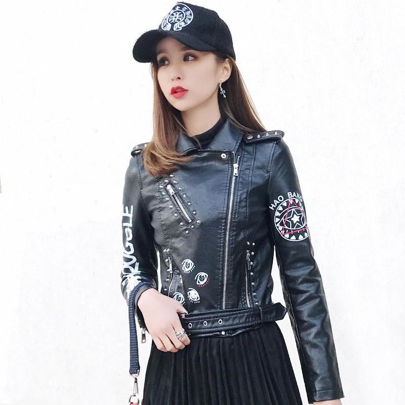 78b97db603 Abbigliamento donna Punk Graffiti Faux Cuoio Moto Giacca da motociclista  Streetwear Rivet Eet Moda Giacche casual Cappotti