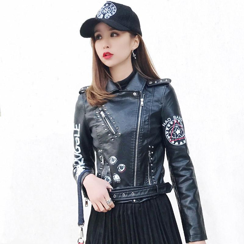 b3817e41cb69 2019 Punk Style Women S Clothing Graffiti Faux PU Leather Moto Biker Jacket  Streetwear Rivet Eet Fashion Casual Jackets Coats From Mangcao
