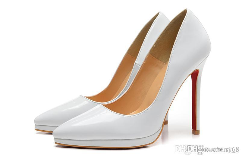 5fbde8d3811 White Patent Leather Pointed Red Bottom High Heels Women Shoes 12cm ...