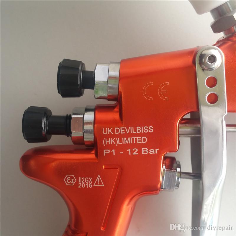 HD-2 HVLP Alimentation par gravité du pistolet pulvérisateur Devilbiss pour toutes les peintures, couches de finition et retouches automatiques avec gobelet en plastique 600 cc