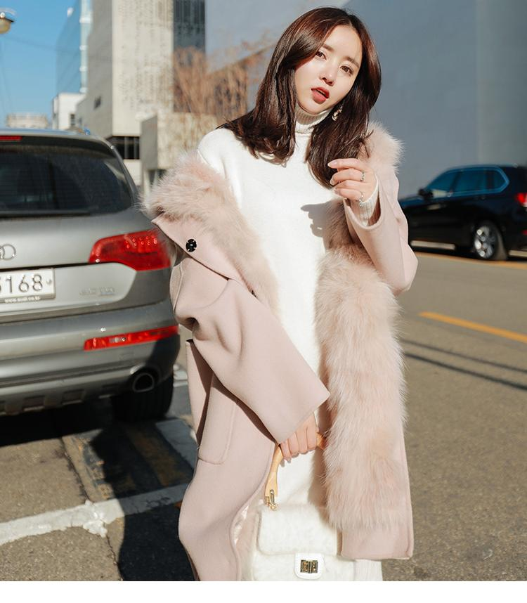 New Design 2018 Fashion Winter Women Coat Faux Fur Female Patchwork Jacket Long with a Hooded Warm Fake Fur pink Coats Jacket