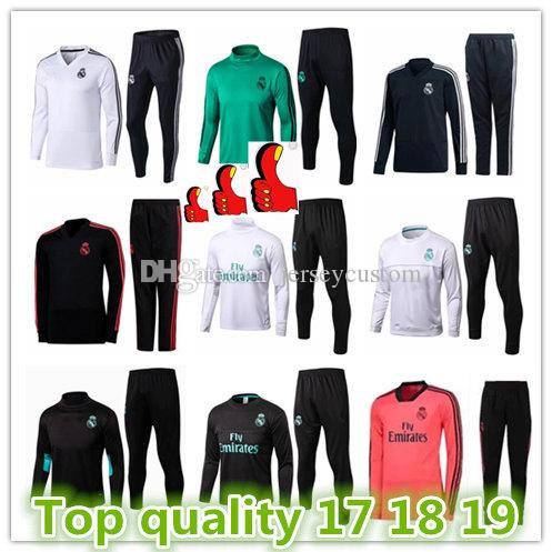 Best Top Real Madrid Soccer Jersey Tracksuit Men s Soccer Chandal Football  Tracksuit 201 2018 19 Adult Training Suit Skinny Pants Sportswear Real  Madrid Man ... 39cc0e6acf2e9