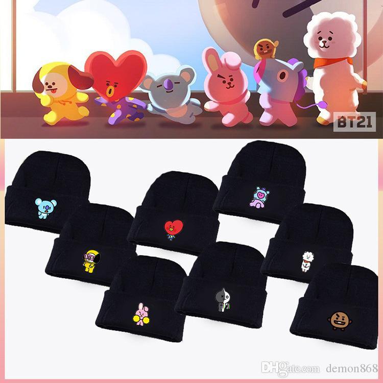 Acquista Kpop BTS Merchandise BT21 Cappello Cartoon Jimin Suga Jungkook  Cappello In Maglia Di Lana Nera Cappellino Invernale Unisex A  10.88 Dal  Demon868 ... a156708886e8