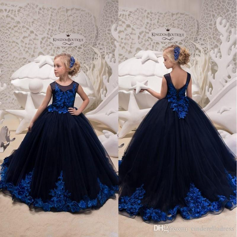 2019 New Navy Blue Princess Girl S Dresses Hand Made Flower Applique Girl S  Formal Pageant Party Dresses Birthday Easter Christmas Halloween Elegant  Flower ... e283468cc93f
