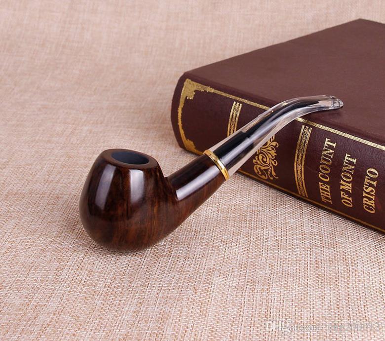 Nuevo cigarrillo de pulido del sándalo negro tallado, martillo curvado, pipa que fuma portátil del cigarrillo para los hombres