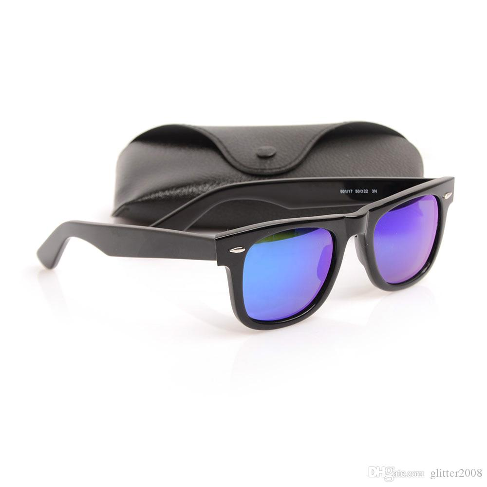 New Style Women`s Sunglasses High Quality Plank Sunglasses Color film Lens Sunglasses glass Lens New Men`s Sun glasses Metal hinge glasses