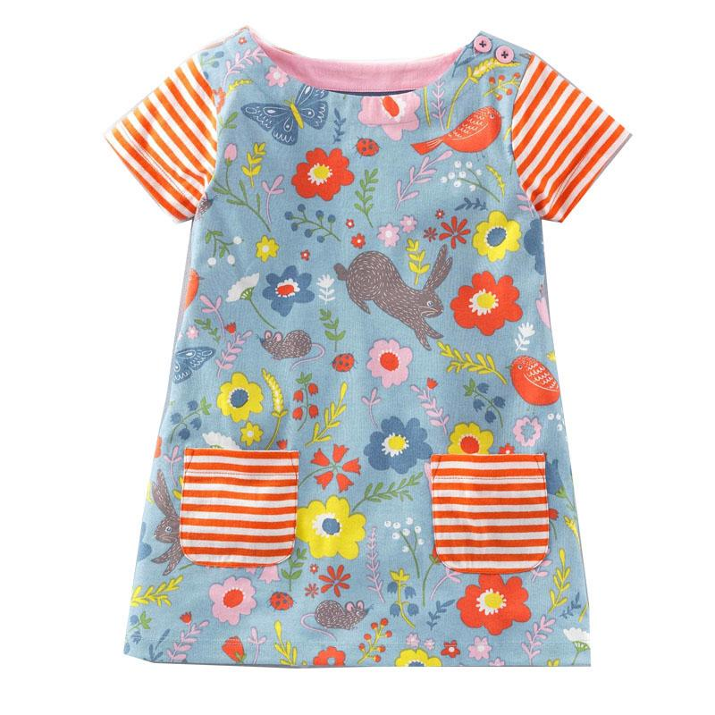 Jumping Meters Baby Girls Dress with Animal Applique 2017 Brand Princess Summer Dress Children Clothes 100% Cotton Kids Dresses