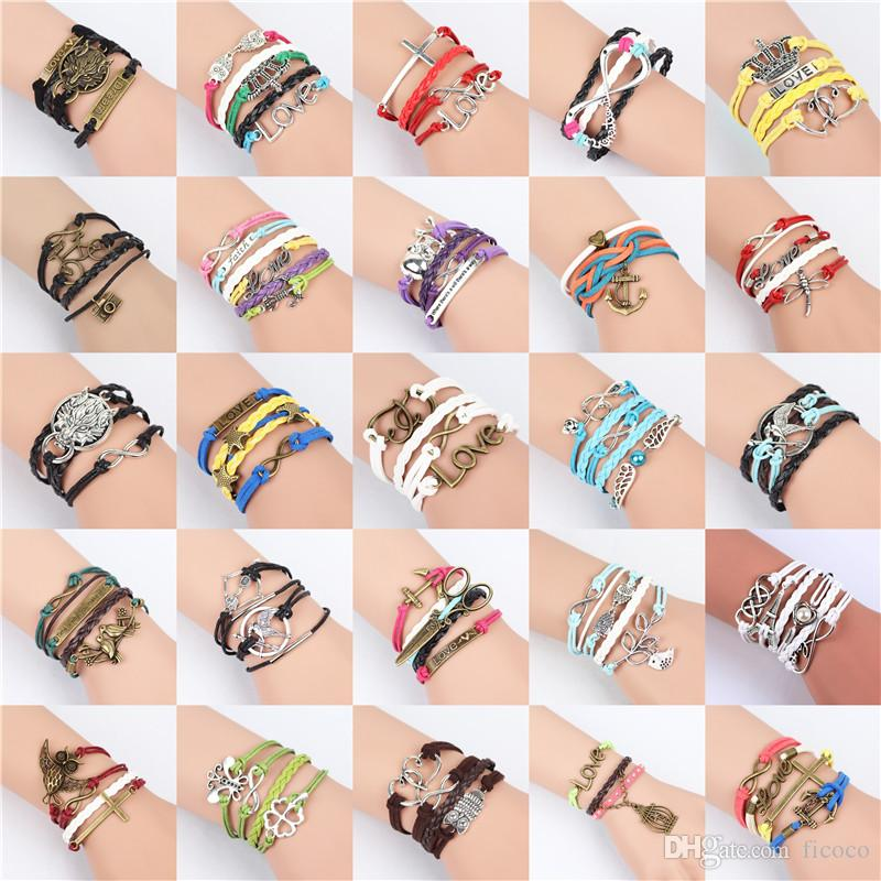 57d8a0e2df5c9 Exquisite 68 styles DIY Infinity Charm Bracelets Alloy Leather Weave Braid  Cord Strands Multilayer Jewelry as Gift