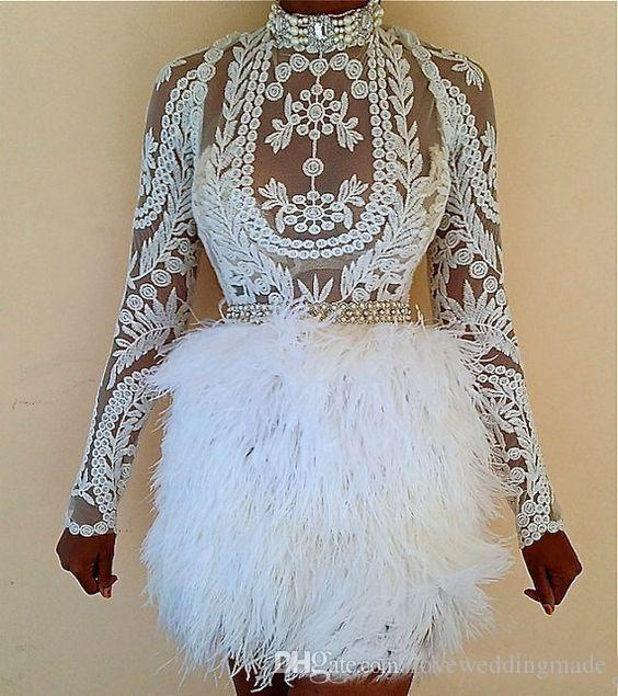 Fashion 2018 Black Christmas Feather Cocktail Dresses Illusion Long Sleeves Embroidery Formal Party Wear Short Prom Celebrity Gown