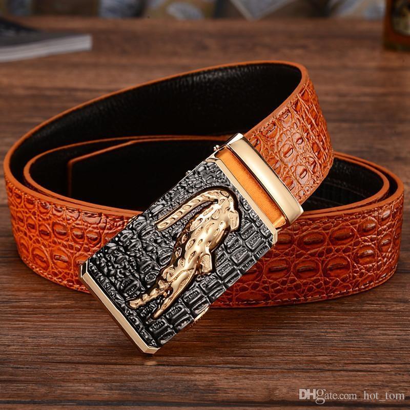 Мужской Аллигатор Рельефного Налет пряжка Cowskin из натуральной кожи Ratchet ремня 3D Крокодил Pattern джинсы Ремни для мужчин Бесплатной доставки