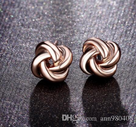 NEWBARK Hot Sale Cute Korean Stud Earrings Twist Love-knot Rose Gold &  Silver Color Women Earings Fashion Jewelry Lovely Design