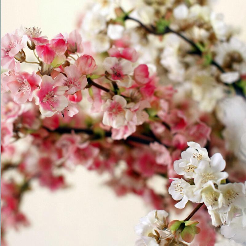 2019 Small Sakura White Pink Silk Cherry Blossom 3 Branches Long