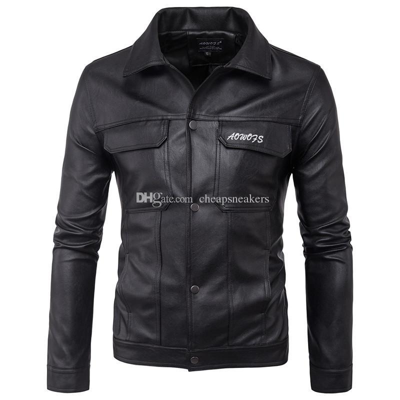 Cappotto di pelle retrò moto Cappotto semplice moda uomo abbigliamento motore collare Slim Slim camicie cuticole