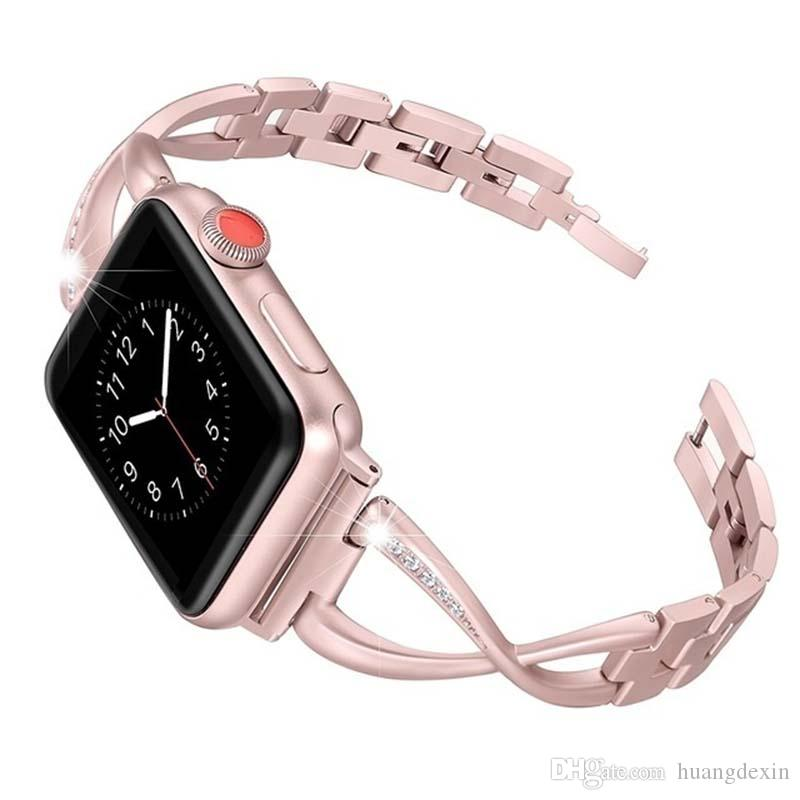 Diamant 38mm Acier Inoxydable Bracelet 4 Jansin Watch 2 Apple 42mm Femme 40mm 44mm En Iwatch Série 3 1 tdshQrC