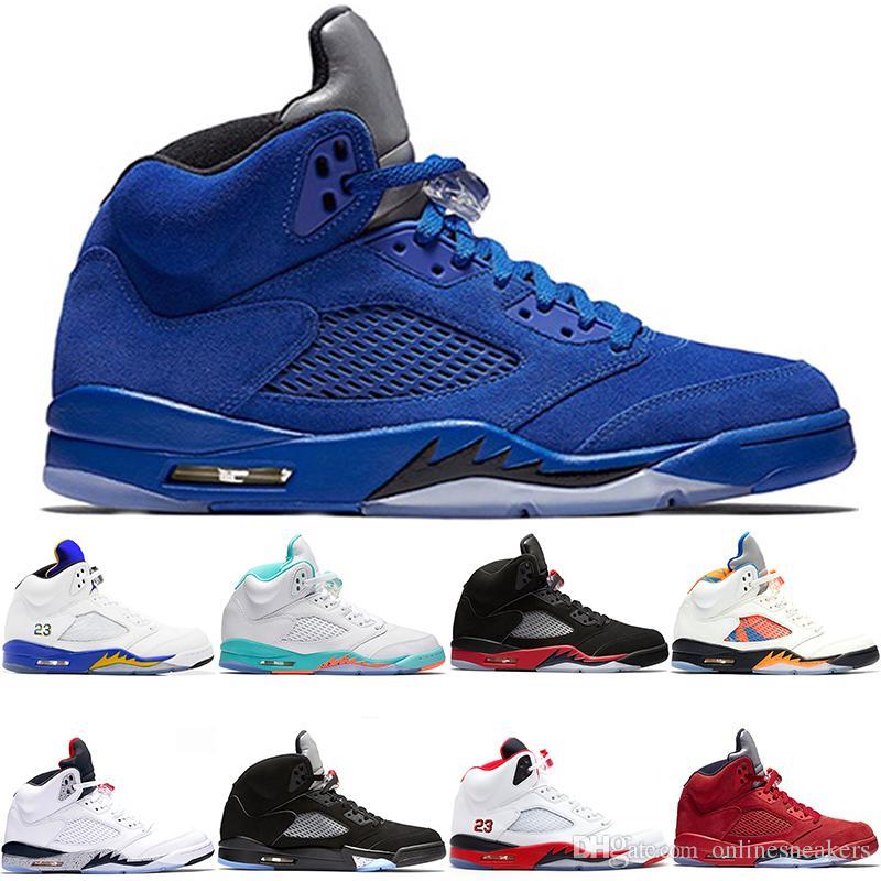 pretty nice 9bd7f 3e75c Acheter Chaussures De Basket Ball 5 5s Hommes Femmes Bred Light Aqua Laney  Rouge Bleu Suede Blanc Ciment Métallisé Noir Pas Cher Hommes Sport Sneaker  Vente ...