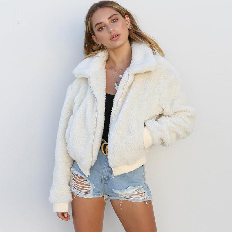 84f18b4d7e3 2019 Faux Fur Coat Women Autumn Winter Fluffy Teddy Jacket Coat Plus Size  Long Sleeve Outerwear Turn Down Short Female From Alfreld