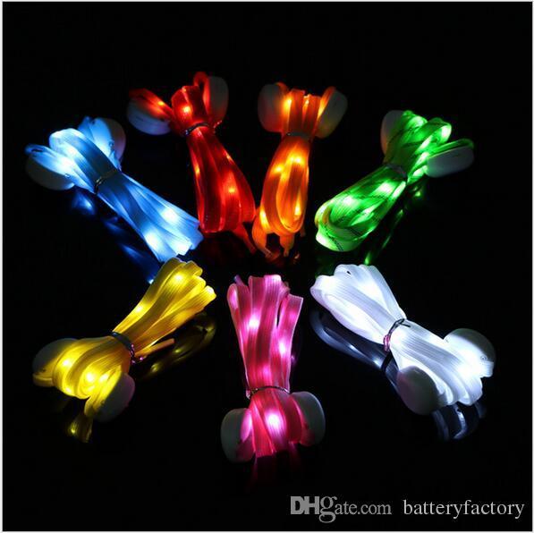 Lacets de chaussures multicolores 7e génération à LED Nylon lumineux plats lumineux scintillants clignotants clignotants Lacets de chaussures Lacets lacets Lacets