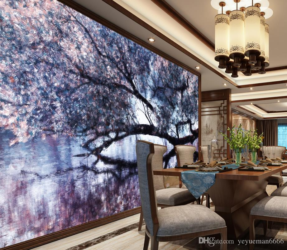 3D Photo Wall Mural Custom New Chinese Spring cherry tree Wallpaper 3D Stereoscopic Hand Painted Wall Background