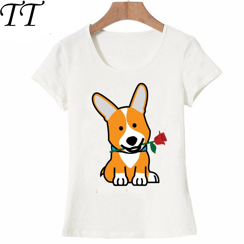 T-shirts Corgi Dog T-shirt Men Funny Printed T Shirt Women Tops Tees Short Sleeve Casual Tshirts Tops & Tees
