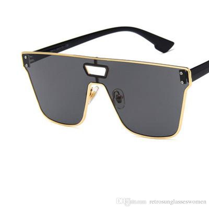 f96ef6773e6 2018 One Piece Lens Sunglasses Mens Big Rectangle Frame UV400 Sun Glasses  Womens Adumbral Sexy Cool Eyewear Sale Womens Sunglasses Sunglasses Sale  From ...