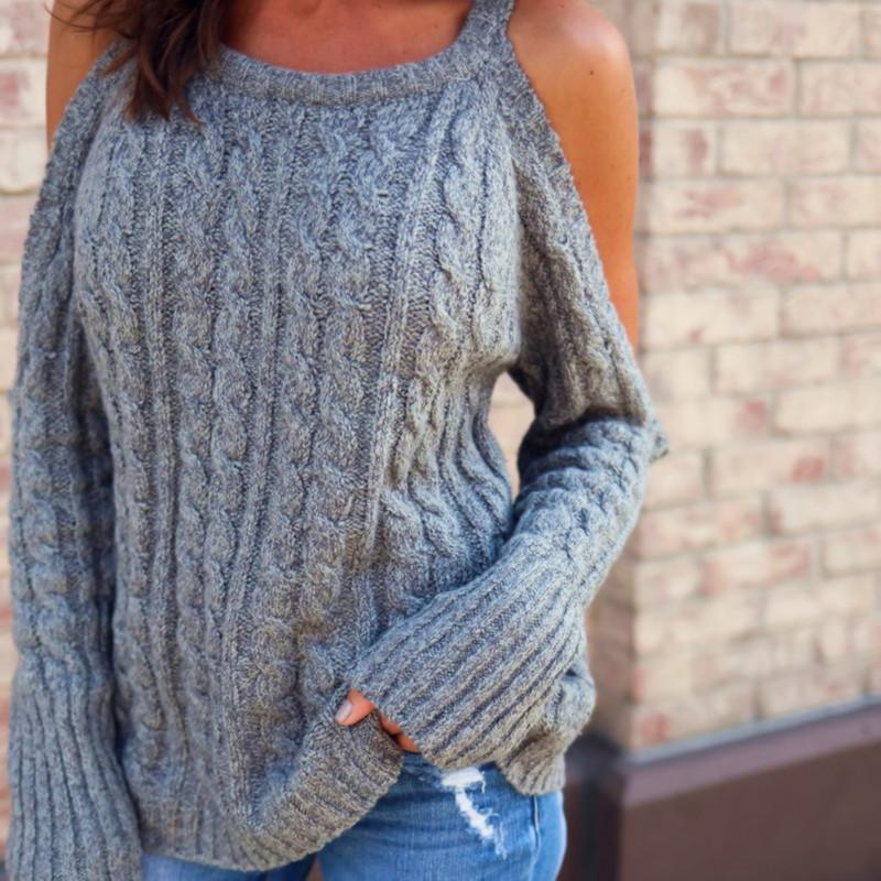 907bab5be770 Sweaters Off Shoulder Loose Sweater Female Strapless Twist Jumper ...