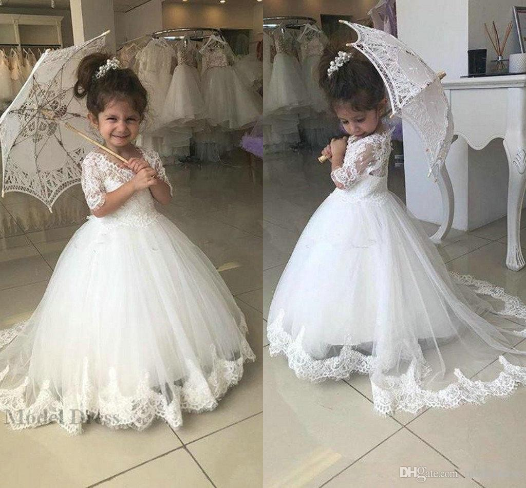 White Flower Girls Dresses For Weddings Half Sleeves Lace Tops A
