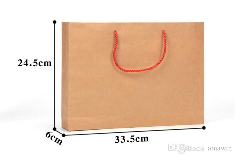 Kraft Paper Bag With Handle for Wedding Birthday Party Favor Gift Christmas New Year Shopping Package Food Bag