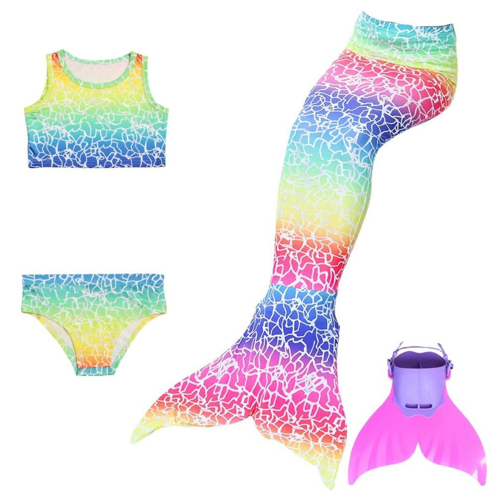 Girls Swimming Mermaid Tails with Flipper Children Ariel Bathing Suit  Swimmable Mermaid Tail Costume Child Kids Girls