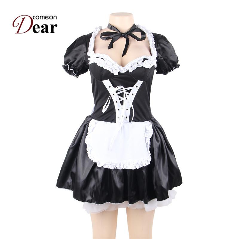 a5a15b9980c692 2019 Comeondear Halloween Satin French Maid Adult Uniform Fancy Dress  Costume Plus Size Costume Sexy Porno Cosplay Costumes80704 From Xinpiao, ...