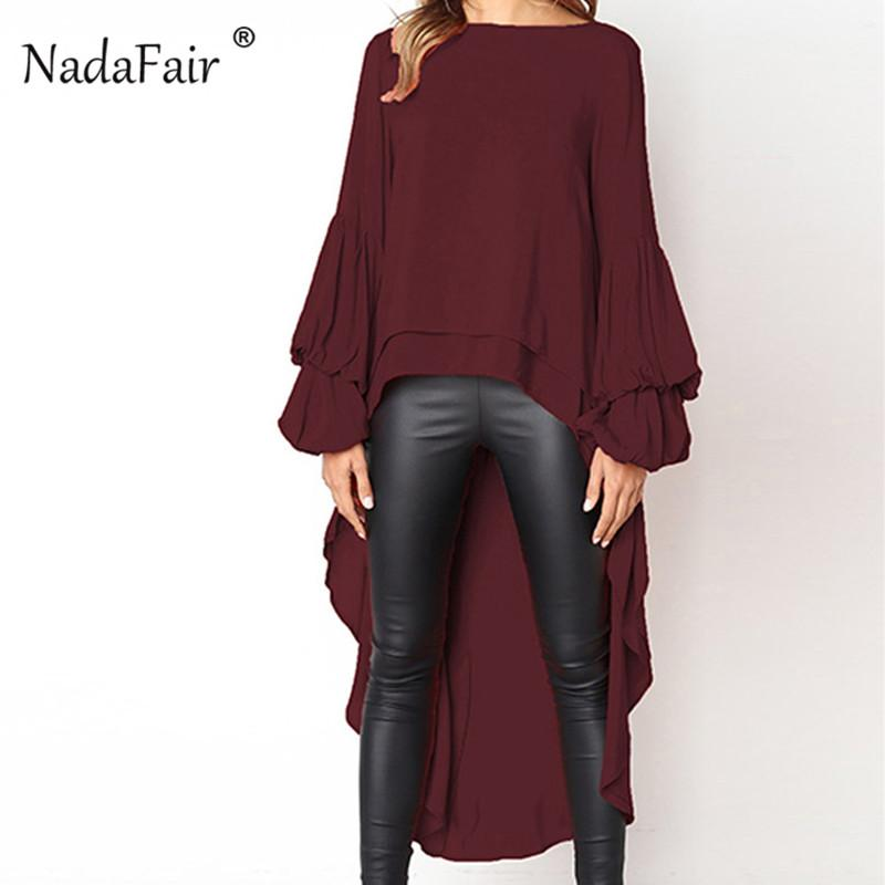 5b398bb88f9a69 2019 Nadafair Flouncing Ruffle Long Sleeve Asymmetrical Shirts Women Plus  Size 3XL Drop Hem Elegant Loose Blouse Autumn Blusas Female From Viviant,  ...