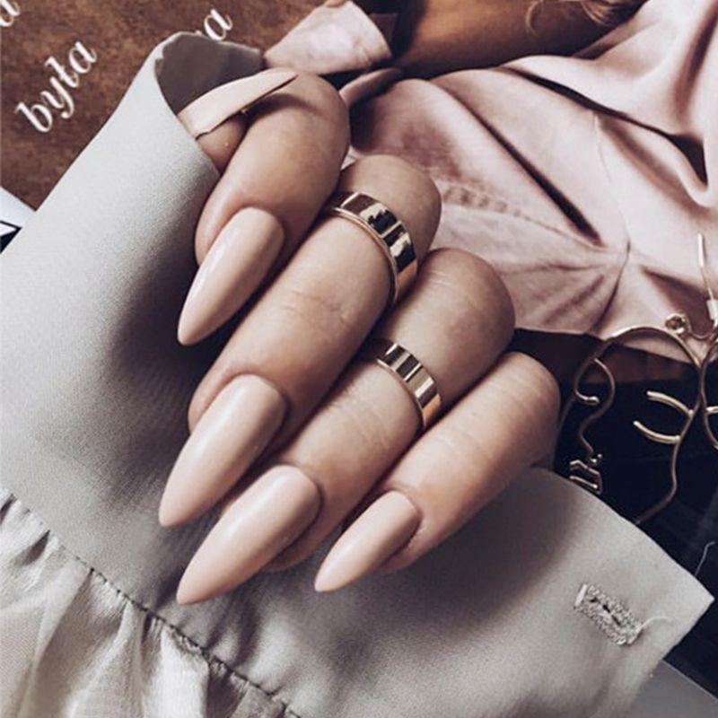 Long Stiletto False Nails Pre Design Full Cover Nude Pink White