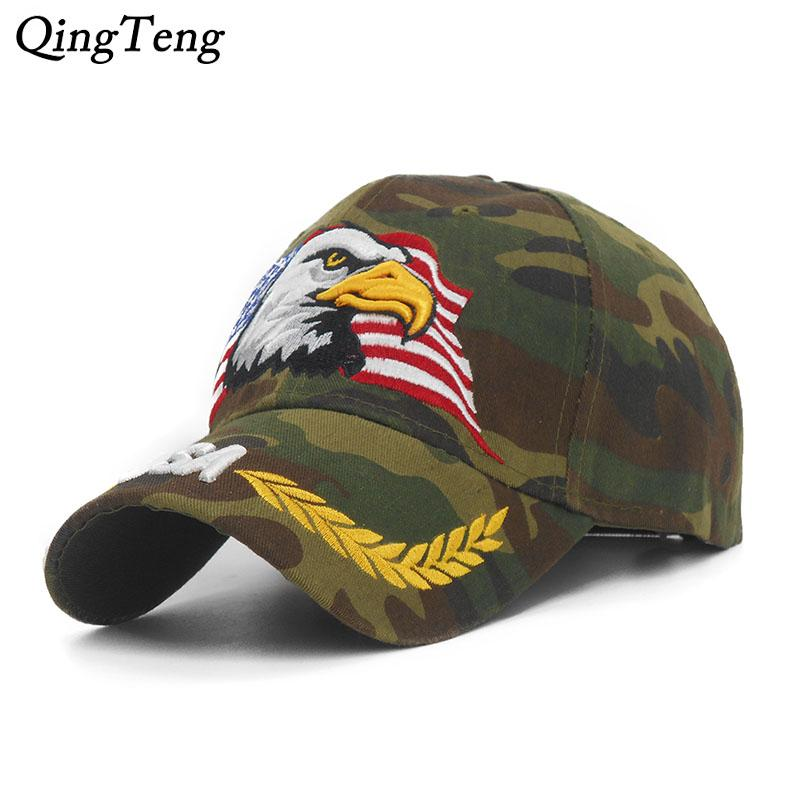 ... New Embroidery Eagle Camouflage Baseball Caps For Men Women Outdoor  Fishing Desert Hats Usa Flag Army ... 8d17fceb6c32