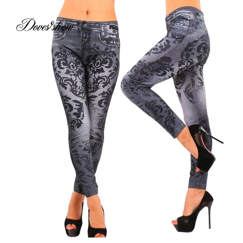 838c3b5f050 2019 New Fashion Slim Women Leggings Faux Denim Jeans Long Note Printing Spring  Summer Leggings Casual Ankle Length Pencil Pants From Waxeer