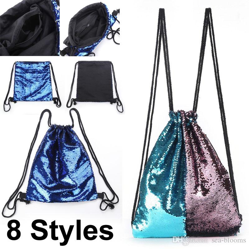 2019 8 Styles Mermaid Sequin Backpack Glittering Shoulder Bling Bags  Reversible Glitter Drawstring Backpacks Women Beach Bags Free DHL G723Q  From Sea Blooms ... 95b9a4b8546c