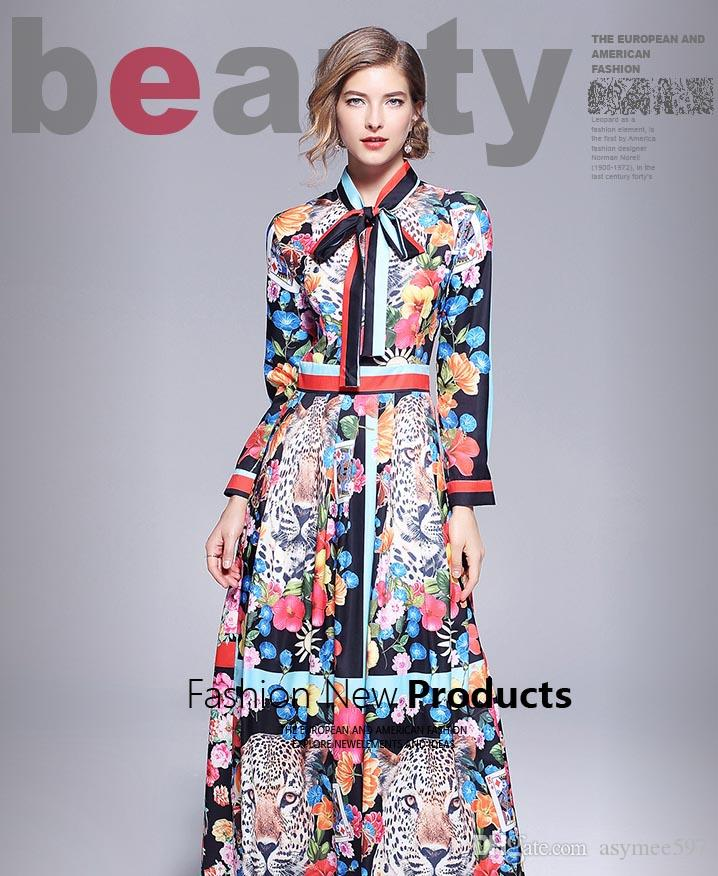 108f94ec921d 2018 Spring And Autumn Bow Collar Printing Dress of Women
