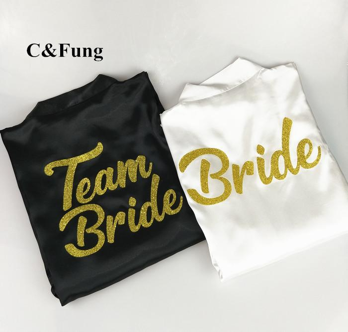 2018 cfung design bride team bride robe glitter gold letters bridal shower to be bachelorette bridesmaid bridal party robes from erzhang 2405 dhgate