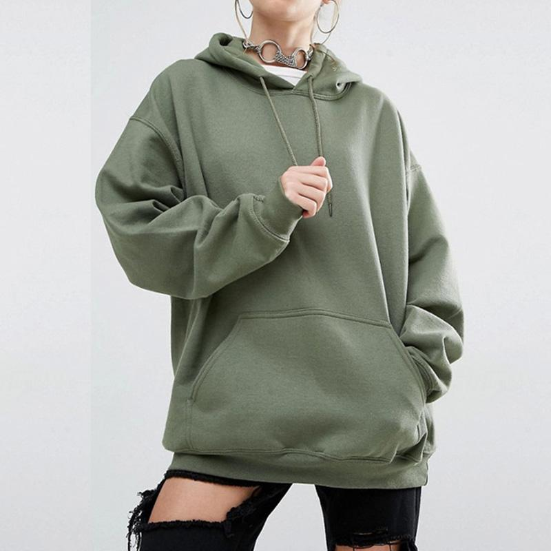 Boutique en ligne 97b9c 8dbbf Women Sweatshirt Female Casual Oversize Solid Hooded Pullovers kpop Long  Sleeve Hoodies Sweatshirts Women Sweatshirt Woman Top