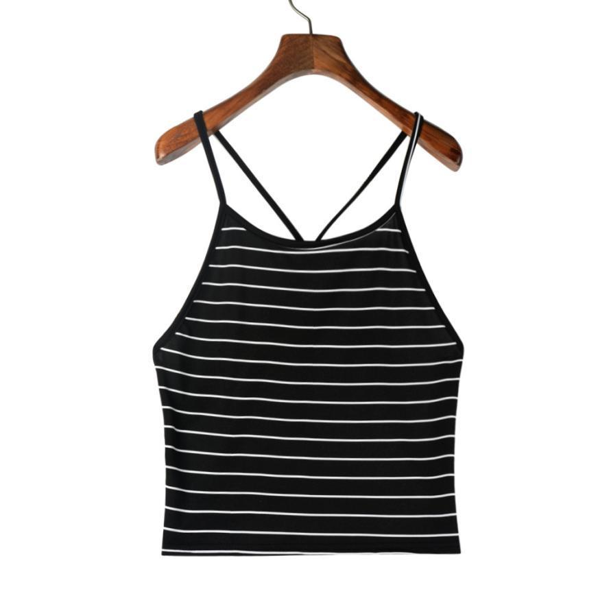 9087392538483 Women Sexy Striped Tank Crop Tops Sleeveless T-Shirt Cropped ...