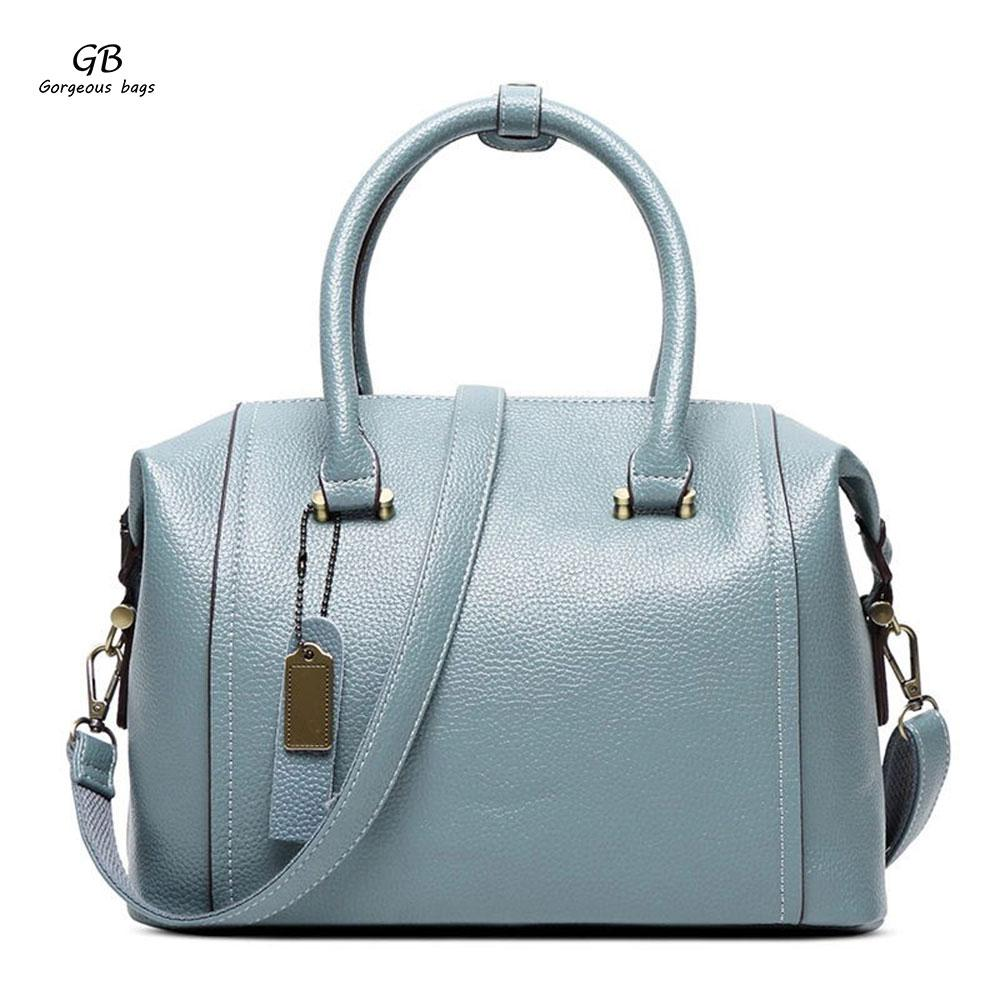 2018 New Fashion Woman PU Leather Boston Bag Pillow Package One ... 8f8e9b0b5246
