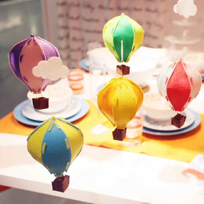흰 구름 깃발 장식 아이 방 장식 도매 / 많은 DIY 3D 다채로운 펠트 뜨거운 공기 풍선