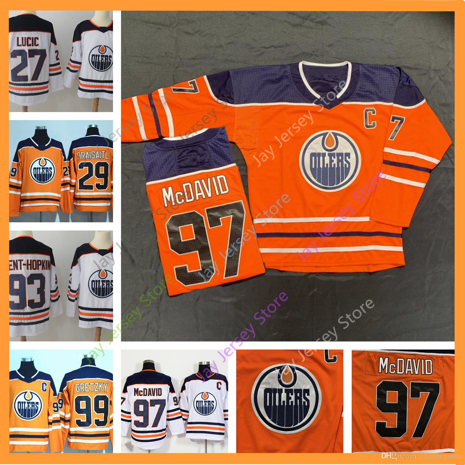 super popular 9625c b5b36 Edmonton Oilers Connor McDavid Jersey 27 Milan Lucic 29 Leon Draisaitl 93  Ryan Nugent-Hopkins 99 Wayne Gretzky 2018 NEW Material Ice Hock