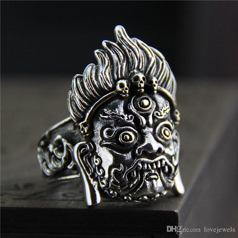 70916283a 2019 925 Sterling Silver Rings Vintage Personality Exaggerated Domineering  Anger King Kong Men Thailand Silver Ring Hip Hop Jewelry Adjustable From ...