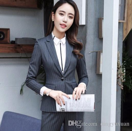2c8a0953b Compre Conjuntos De 2 Piezas Gris, Negro Traje A Rayas Azul Traje Para Mujer  Formal Oficina OL Diseños De Uniformes Mujeres Elegante Business Work Wear  ...