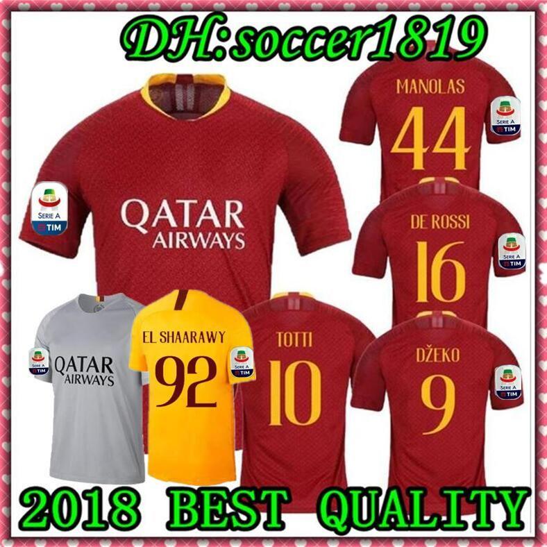 18 19 Roma Soccer Jerseys 2018 2019 DZEKO JerseyS TOTTI Football Jersey DE  ROSSI Maglie EL SHAARAWY Football Shirt NAINGGOLAN Maillot S-XL