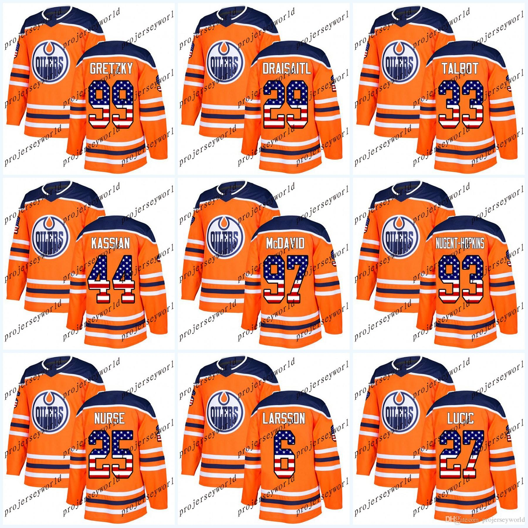 buy online 19417 1104c Youth USA Flag Stitched Edmonton Oilers Zack Kassian Connor McDavid Wayne  Gretzky Leon Draisaitl Cam Talbot Milan Lucic Ice Hockey Jersey